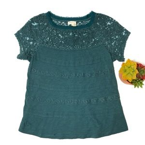 Anthropologie Meadow Rue Teal Lace Trimmed Top